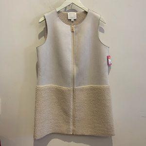 Long suede Sherpa vest